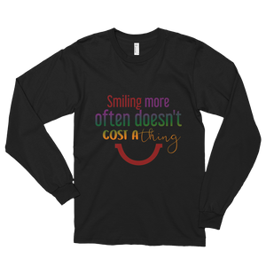 Smiling more often doesn't cost a thing by in love with life, black long sleeve gentleman