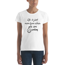 Life is just more fun when you are smiling by In love with life, short sleeve/ shirt ladies white