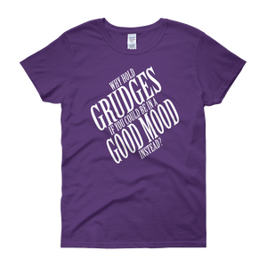 Why hold grudges if you could be in a good mood instead? by in love with life, purple short sleeve ladies