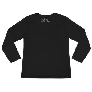 I'm happy cause I'm alive. So should YOU by in love with life, black long sleeve ladies back