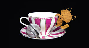fox tea infuser with mesh ball on a cute Alice in wonderland theme mug
