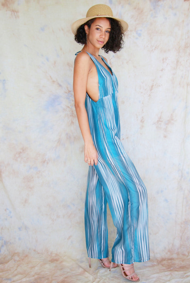 V-Neck Jumpsuit with Back Neck Tie