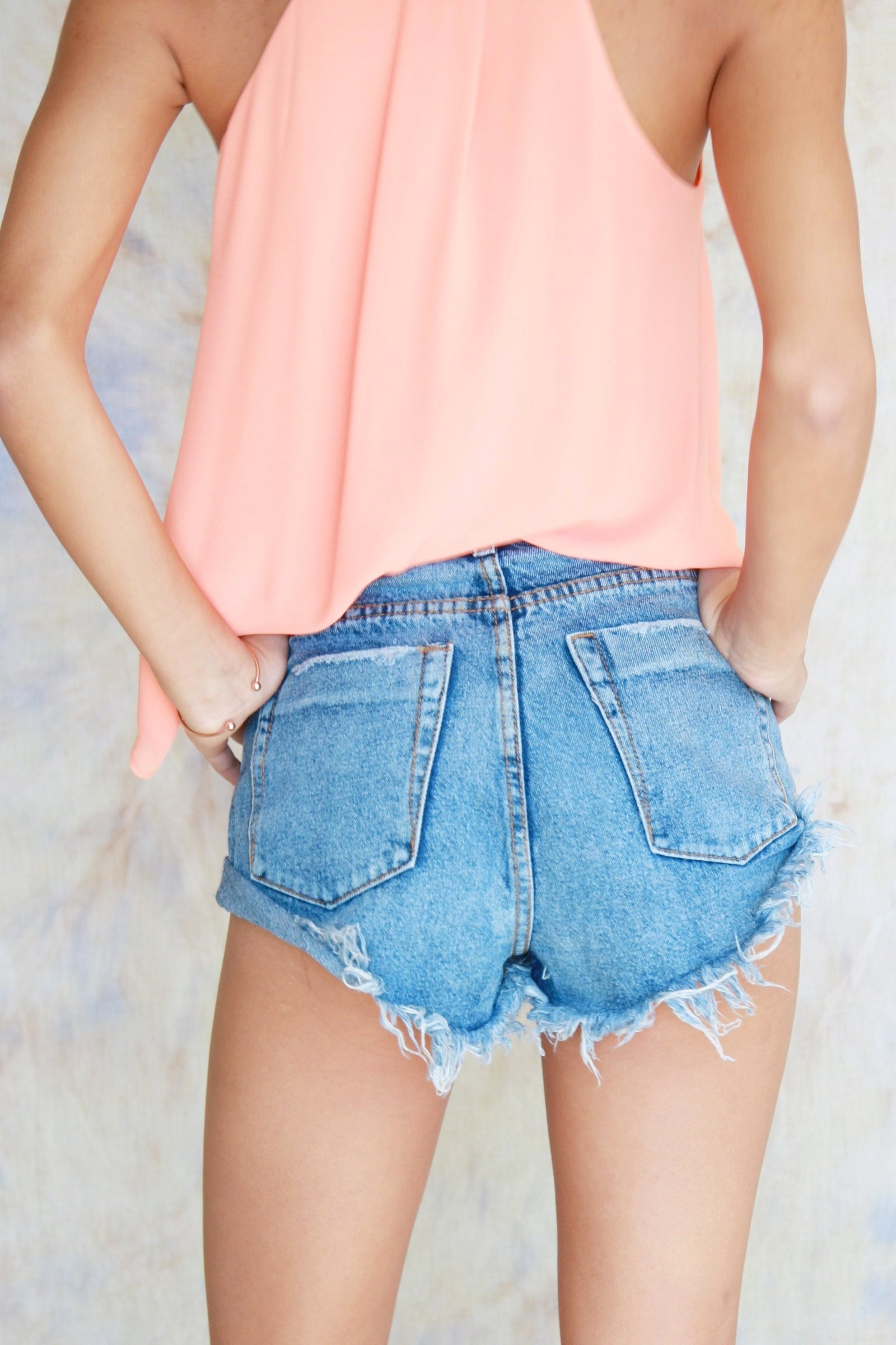 Side-Rolled High Rise Shorts