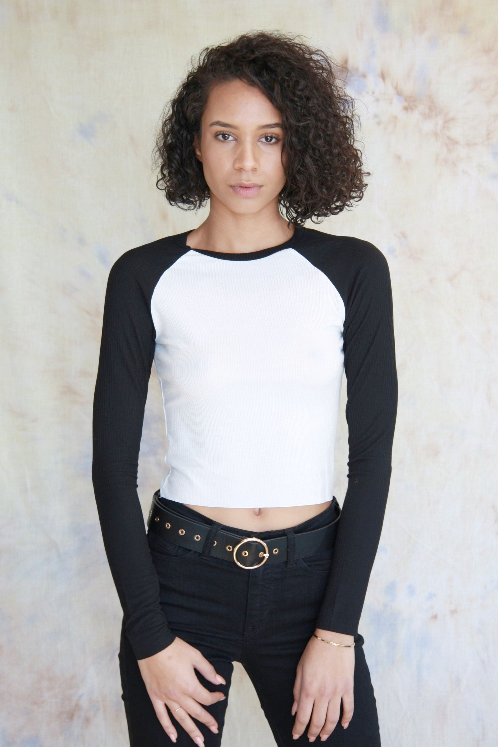 Ribbed Raglan Cropped Shirt