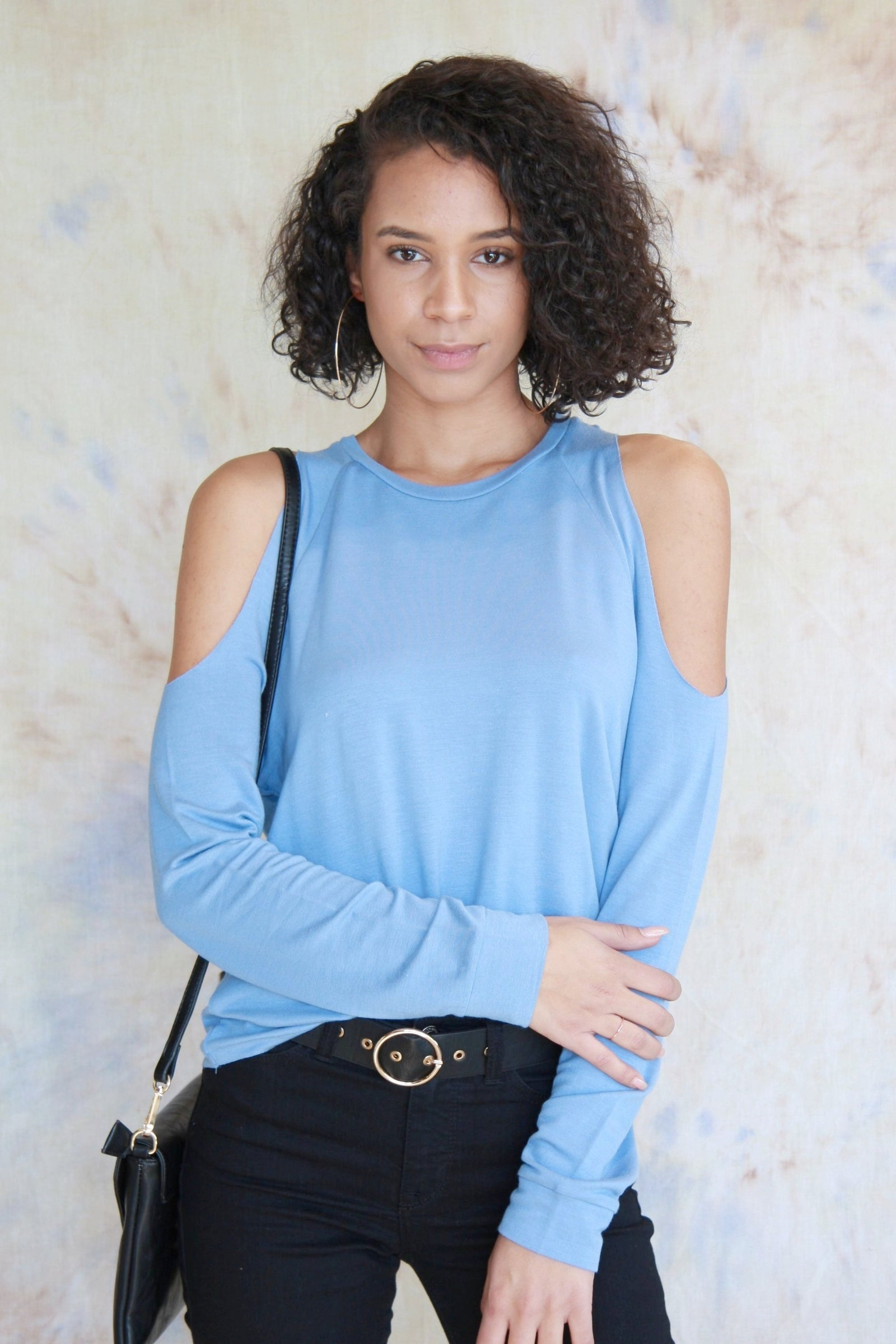 Open Shoulder Sweater Blue