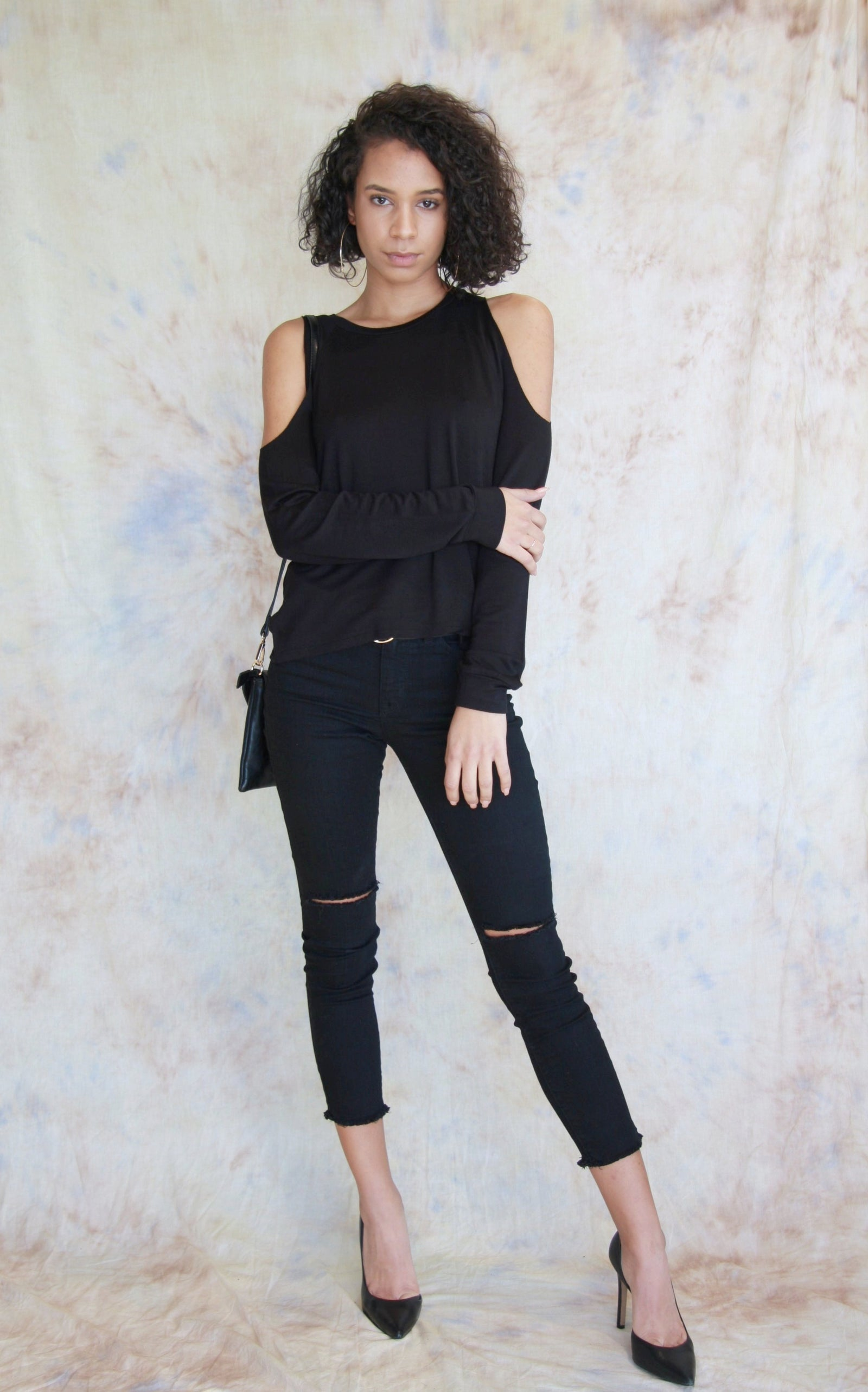 Open Shoulder Sweater Black