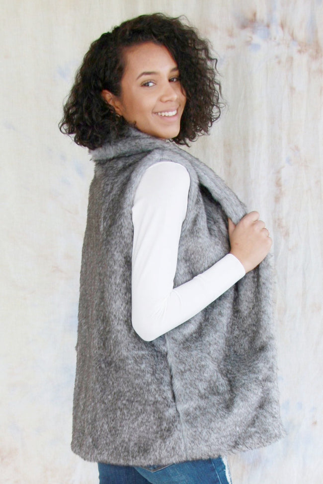 Faux Fur Vest With Side Pockets
