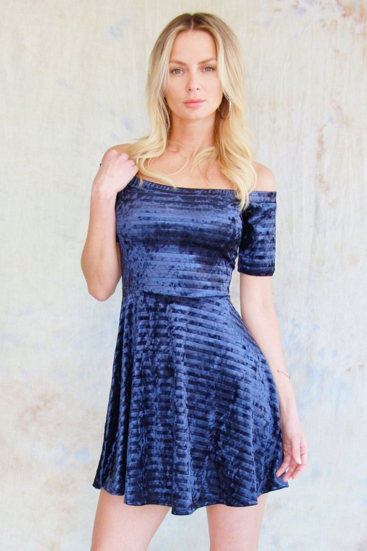 Off The Shoulder Flare Dress