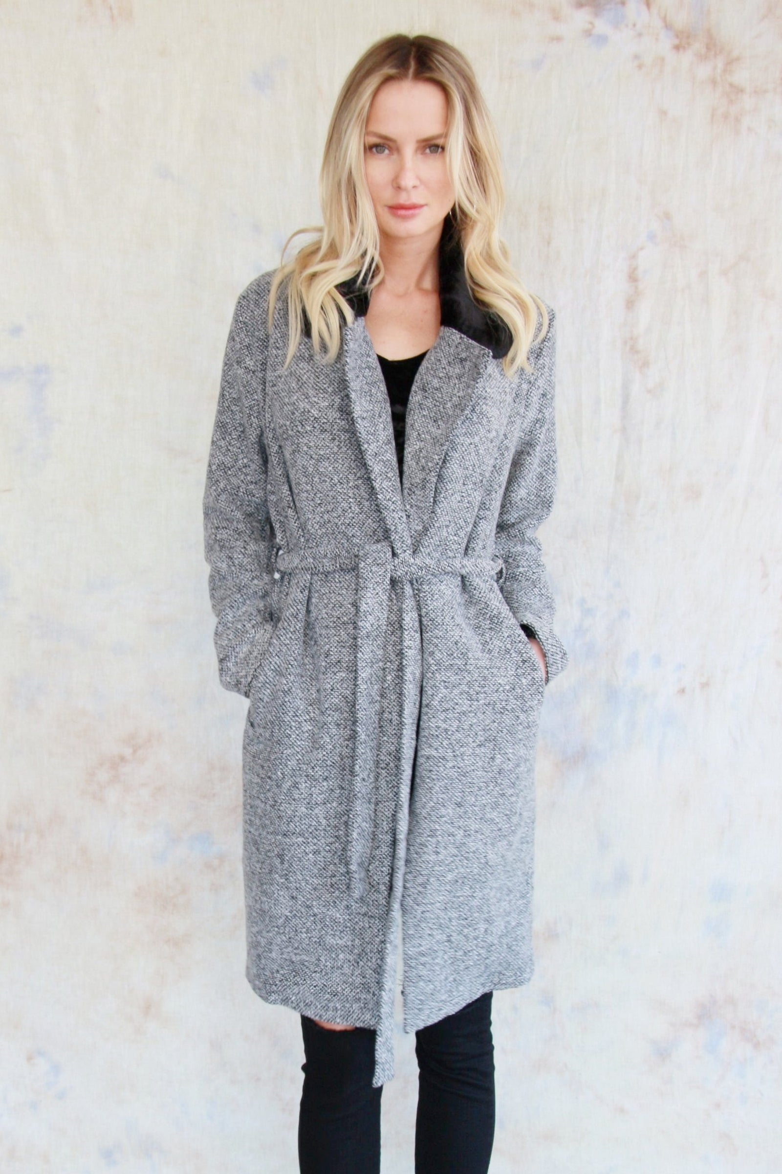 Faux Fur Collared Coat