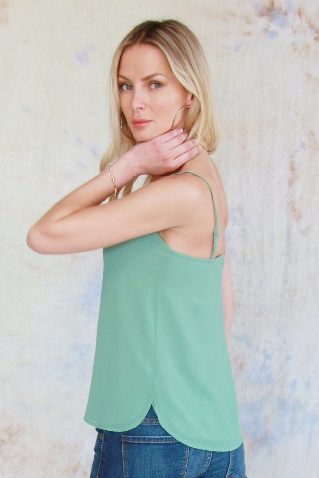 Center Woven Tank Top