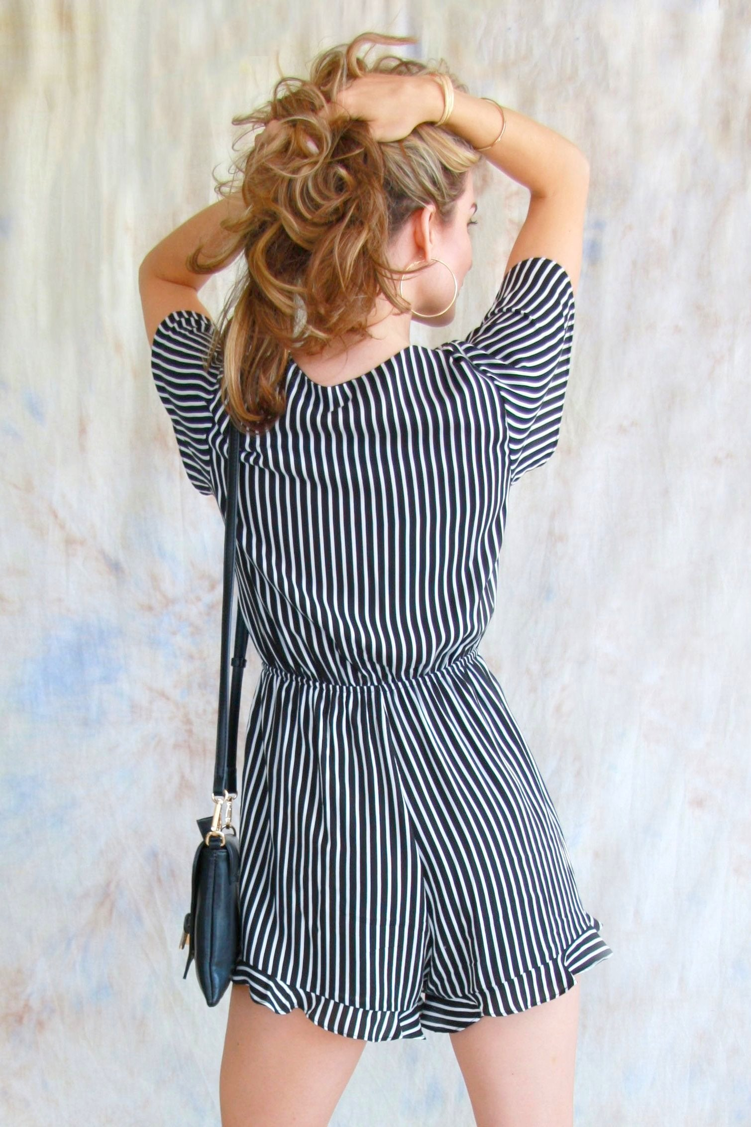 Striped Tie Front Romper