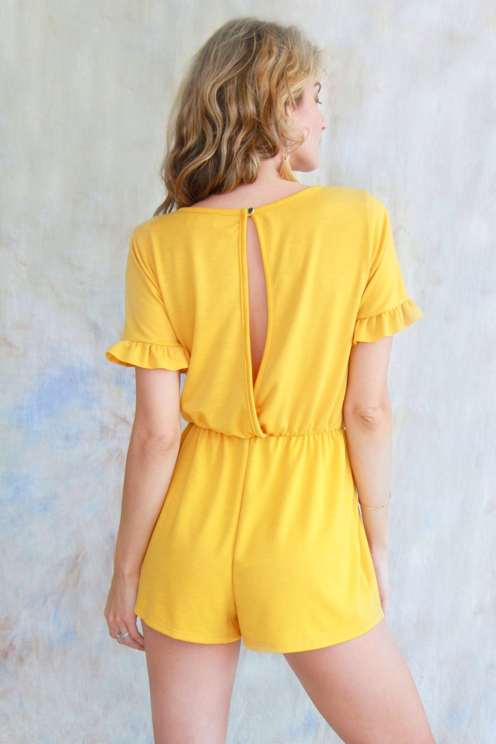 Open Back Romper With Front Tie