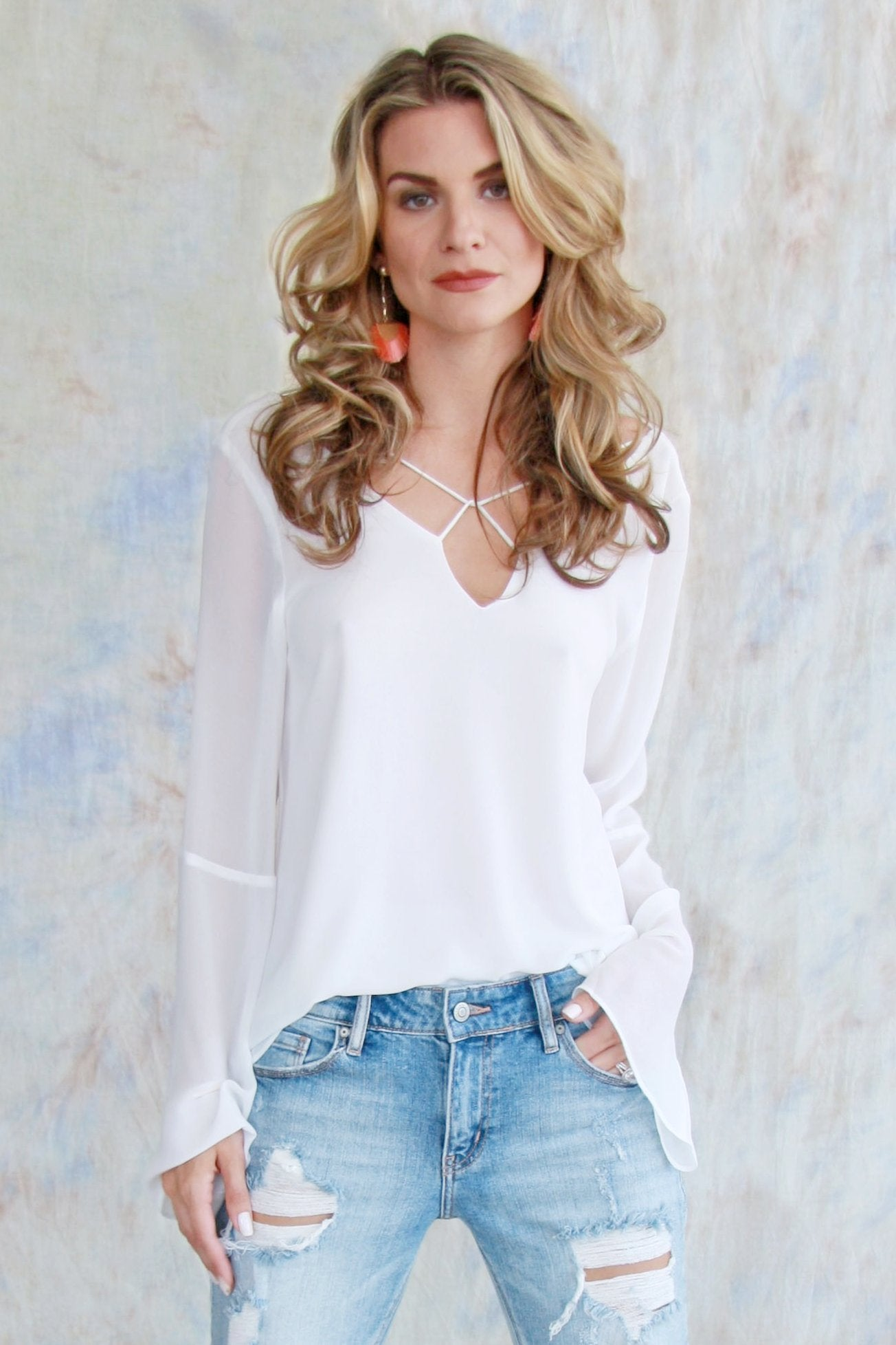 Bell Sleeve Cowl Back Blouse
