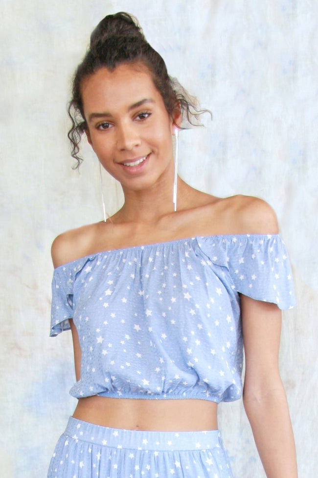 Off The Shoulder Star Crop Top