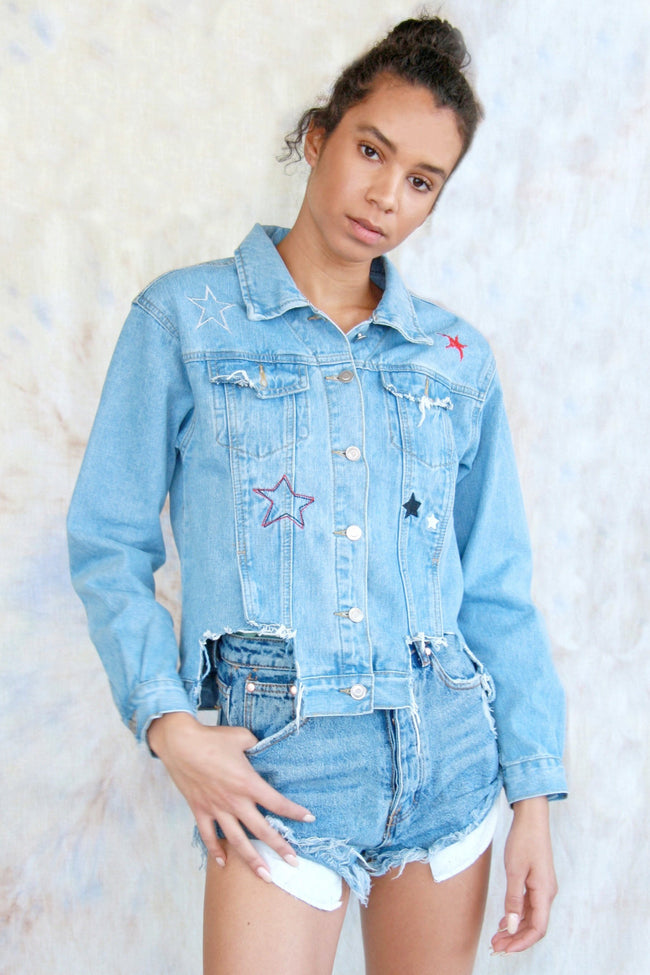 Cut-Out Denim Star Jacket