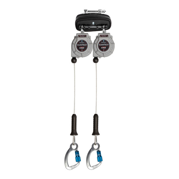 FallTech DuraTech® Twin-Leg Leading Edge Retractable Lifeline w/ Aluminum Carabiner Hooks - 9 ft.