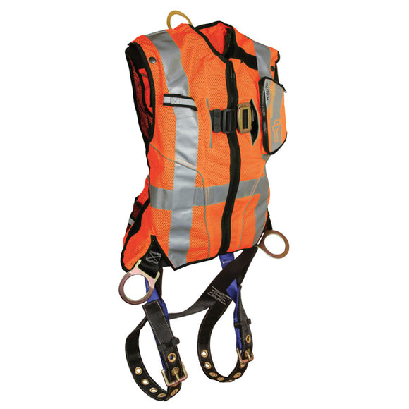 FallTech Hi-Vis Orange Vest Harness with Side D-Rings