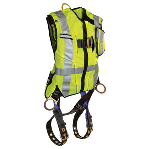 FallTech Hi-Vis Yellow Mesh Vest Harness with Side D-Rings