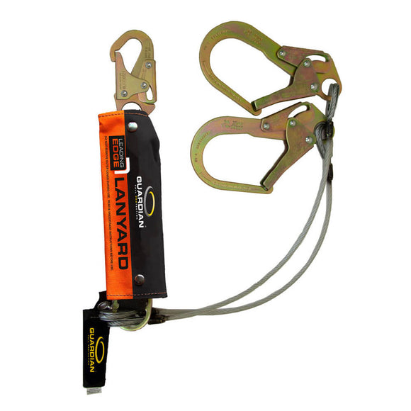 Guardian Leading Edge Dual Leg Cable Lanyard w/ Rebar Hooks -  6 ft.