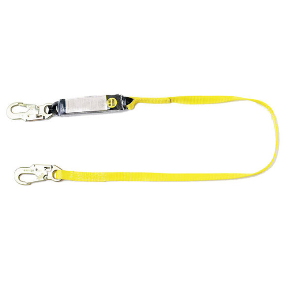 Guardian Shock Absorbing Lanyard-Snap Hooks-Single Leg-4'