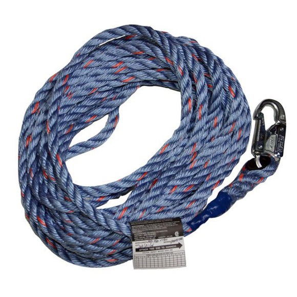 "Miller 5/8"" Polypropylene Vertical Lifeline w/ Snap Hook - 100 ft."