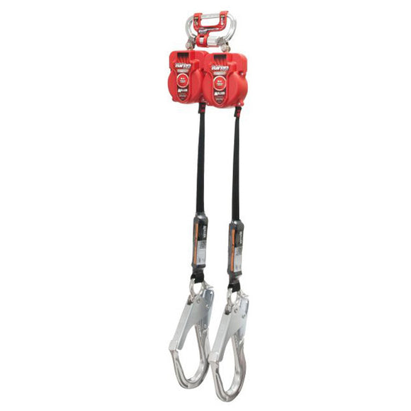 Miller Twin TurboLite Personal Fall Limiter w/ G2 Connector & Aluminum Rebar Hooks- 9 ft.