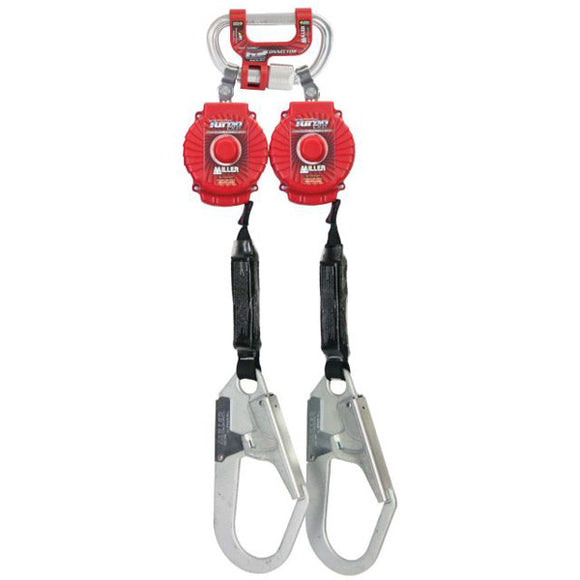 Miller Twin TurboLite Personal Fall Limiter w/ G2 Connector & Rebar Hooks- 6 ft.