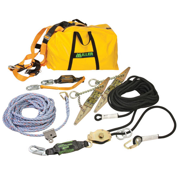 Miller TechLine 60 ft. Horizontal Lifeline Kit for Residential Construction - 2 Workers