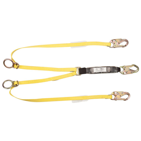 MSA Workman® Energy-Absorbing Twin-Leg Tie Back Lanyard - 6 ft.