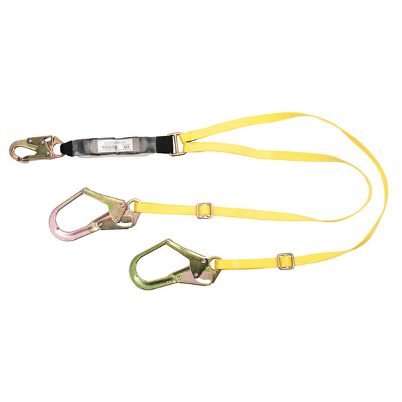 MSA Workman® Energy-Absorbing Twin-Leg Lanyard w/ Rebar Hook - 6 ft.