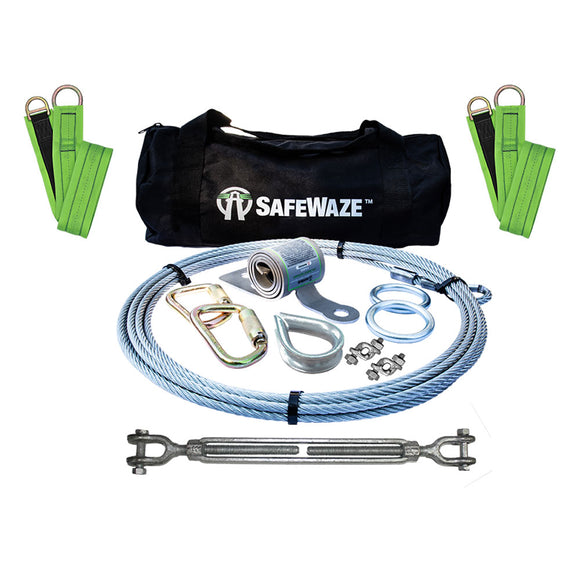 SafeWaze 2-Person Coil Energy Absorber Horizontal Lifeline Kit