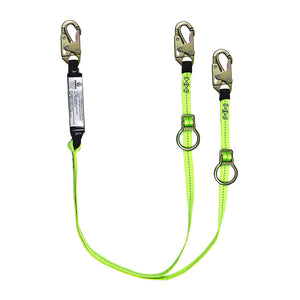 SafeWaze Dual-Leg Tie-Back Shock Lanyard w/ Adjustable Ring - 6 ft.