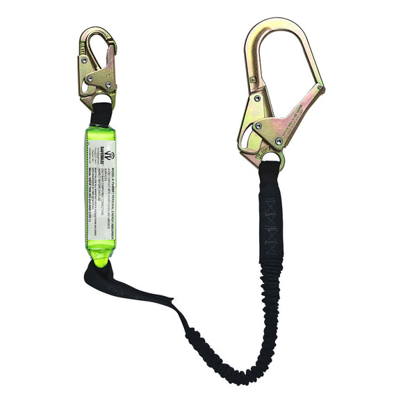 SafeWaze Stretch Shock Absorbing Lanyard w/ Rebar Hook