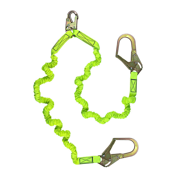 SafeWaze Dual-Leg Low Profile Internal Stretch Shock Lanyard w/ Rebar Hook