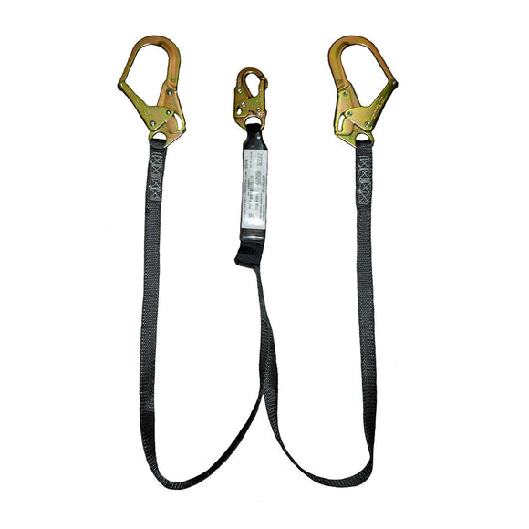 SafeWaze PRO+ Dual-Leg 400 lb. Rated Shock Absorbing Lanyard w/ Rebar Hook - 6 ft.