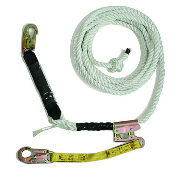 Guardian White Polydac Vertical Rope Lifeline Assembly - 130 ft.