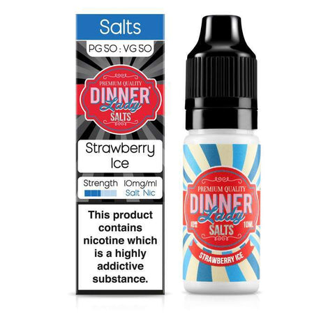 DINNER LADY,ICE NIC SALT,STRAWBERRY ICE,NIC SALT,50VG,50PG,YE OLDE VAPE SHOPPE