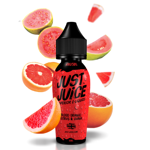 JUST JUICE,SHORTFILL,BLOOD ORANGE, CITRUS & GUAVA,E-LIQUID,70VG,30PG,YE OLDE VAPE SHOPPE