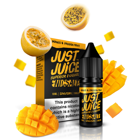 JUST JUICE,NIC SALT,MANGO & PASSION FRUIT,NIC SALT,50VG,50PG,YE OLDE VAPE SHOPPE
