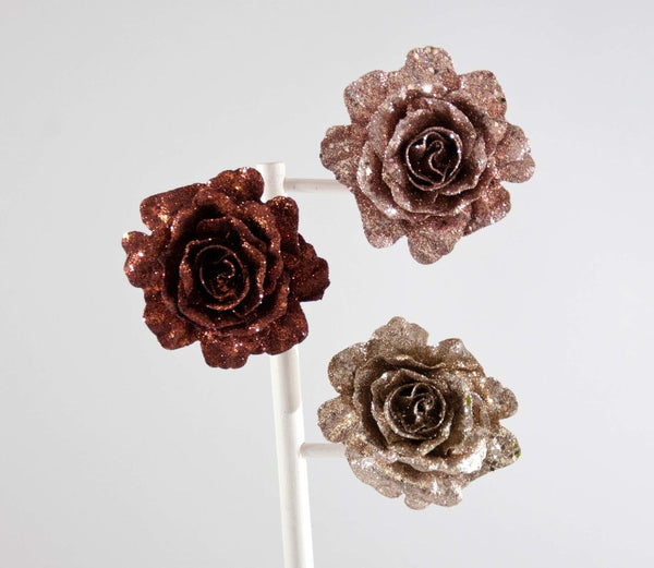 Glitter Metal Rose clip