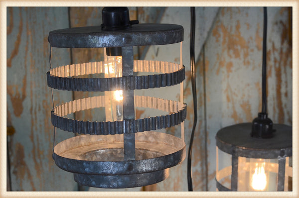 "7 1/2"" Crinkled Tin Hanging Lantern"