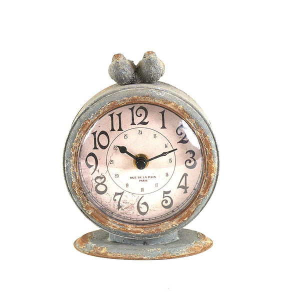 Pewter Mantel Clock w/ Bird, Grey