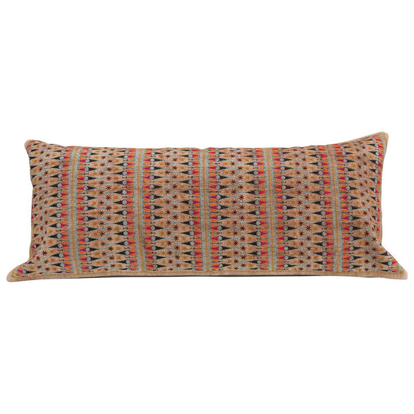 Cotton Embroidered Lumbar Pillow, Multi Color