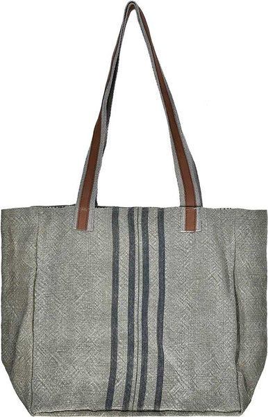 Ash Grey with Blue Stripes Jute Tote