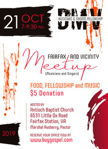 DMV Musicians and Singers Fellowship (Meetup) (Fairfax and Vicinity) Antioch Baptist Church 6531 Little Ox Road, Fairfax Station, VA