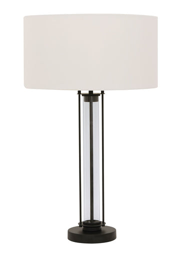 Iris 1 light table lamp in black glass white