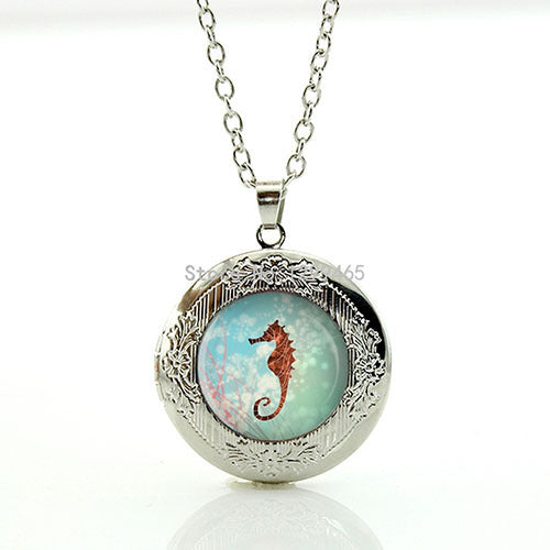 Seahorse Photo Locket Necklace