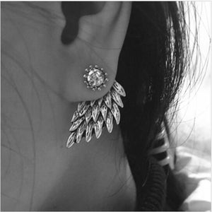 Angel Wings Rhinestone Inlaid Alloy Ear Studs