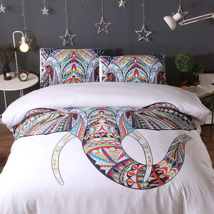 Tribal Elephant Bedding Set 3pcs Duvet Cover And 2 Pillow Cases