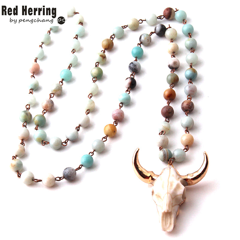 Amazonite Stones  Bohemian Tribal Jewelry Horn Pendant Necklace